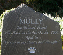 big slate headstone for molly the cat